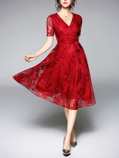 SheIn offers Surplice Wrap Tie Waist Leaf Embroidered Lace Dress & more to fit your fashionable needs. Lace Midi Dress, Tulle Dress, Womens Swing Dress, V Neck Cocktail Dress, Cocktail Dresses, Robe Swing, Midi Dresses Online, Dress Online, Fit N Flare Dress