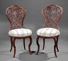 American Rococo Laminated Rosewood Slipper Chairs : Lot 835