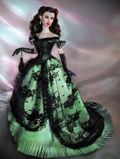 Scarlett O'Hara style doll in a green dress