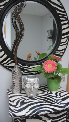 Zebra Framed Mirror Amp Table
