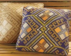 Inspired by the colorful patterns of ancient tattooed Pintados warriors, the Filipino women who make these pillows dye local reeds and embroider them to create the intricate designs. For use in a protected outdoor area only. 18SQ