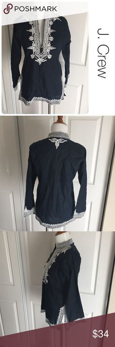 J. Crew linen embroidered tunic ♦️Excellent condition. No holes, stains or piling.                                                 ♦️Materials- 100 linen        ♦️Measurements:                               ♦️Laying flat armpit to armpit: approximately 18.5inches                       ♦️Laying flat from the back of the neck to the bottom of the front hem is approximately 26 inches J. Crew Tops Tunics