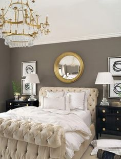 idea for wall color to contrast ivory fabric bed! LOVE this fabric bed frame and love the wall color in this room! Tufted Bed, Upholstered Beds, Home And Deco, Home Living, Living Room, Modern Living, Grey Walls, Dark Walls, Color Walls