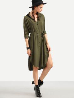Vestido con cordón asimétrico camisero -verde oliva
