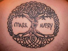 Mark and Avery - I  love how well made this tree of life tattoo is. The fonts with the names fits perfectly well too! #TattooModels #tattoo
