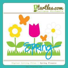 Spring Flowers Free Digital Cutting File #silhouettecameo #svgfile #digitalcutfile #spring
