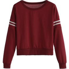 SheIn(sheinside) Varsity Striped Crop Sweatshirt (25 BRL) ❤ liked on Polyvore featuring tops, hoodies, sweatshirts, sweaters, shirts, burgundy, long-sleeve shirt, long sleeve shirts, red stripe shirt and red striped shirts