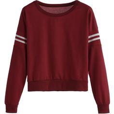 SheIn(sheinside) Burgundy Varsity Striped Crop Sweatshirt (145.090 IDR) ❤ liked on Polyvore featuring tops, hoodies, sweatshirts, long sleeve crop top, pullover sweatshirt, striped top, striped sweatshirt and cropped sweatshirt