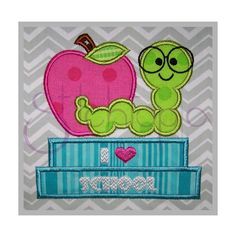 Stitchtopia Bookworm with Apple Applique I Heart School