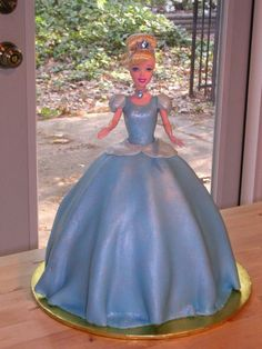 I baked two cakes: one with with Wilton Doll Pan cake, and a 9 inch round cake that goes as a base. the extra height is needed because I used a real Cinderella doll, and the legs are longer than th… Bolo Barbie, Barbie Cake, Barbie Party, Cinderella Doll, Cinderella Birthday, Cinderella Cakes, Real Cinderella, Frozen Birthday, Doll Birthday Cake