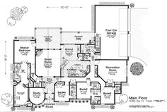 House Plan 89414 - European, French Country Style House Plan with 3780 Sq Ft, 4 Bed, 4 Bath, 4 Car Garage French Country House Plans, European House Plans, Best House Plans, French Cottage, French Country Style, French Country Decorating, House Floor Plans, Cottage House Plans, Cottage Homes