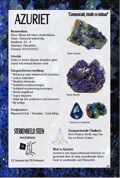 Azuriet - uitleg en werking - Gaia sieraden Crystal Healing Stones, Stones And Crystals, Blue Stones, Minerals And Gemstones, Crystals Minerals, Chakra Stones, Ancient Jewelry, Stone Jewelry, Natural Stones