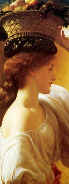 A Girl with a Basket of Fruit detail Frederic Leighton