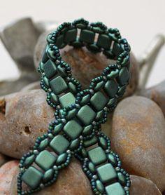 Czechmate Tile Superduo Bracelet Embellished with Toho Seed Beads  Czechmate Tile Beads ~ 6mm Metallic Suede Light Green SuperDuo Seed Beads ~
