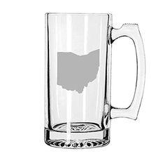 Ohio Love Hand Etched 27 oz Beer Mug. Brand name 27 oz heavy beer mug etched with State of Ohio Love Design. Dishwasher Safe.