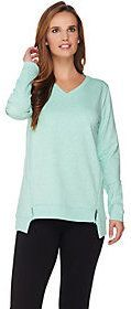 As Is H by Halston French Terry V-Neck Pullover with Zipper Detail