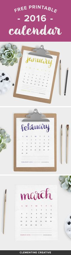 Free Printable 2016 Calendar - Brush Lettered - Clementine Creative | DIY Printable Stationery