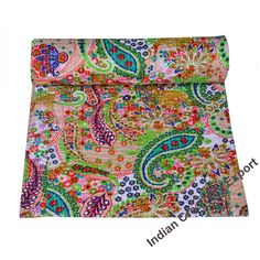 Indian Kantha Quilt New Hand Block Print Kantha Quilt Kantha Bedspread Indian Kantha Blanket Queen And Twin And King Size Kantha Quilt Bohemian Quilt, Bohemian Bedspread, Floral Bedspread, Paisley Quilt, Indian Quilt, Quilt Bedding, Twin Quilt, Quilts For Sale, Kantha Quilt
