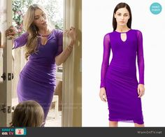 Gloria's purple keyhole dress on Modern Family.  Outfit Details: https://wornontv.net/62202/ #ModernFamily