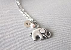Personalized Initial Elephant Necklace by lunashineshine on Etsy, $18.00