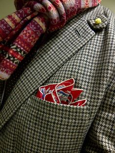 Mr. Broke and Bespoke wearing a collectible 1952 calendar pocket hanky as a pocket square (and pairing it daringly with tweed and fair isle)