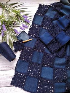 Recycle Jeans, Crochet Stitches, Fabric Crafts, Diy And Crafts, Patches, Quilts, Blanket, Denim, Knitting
