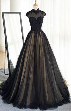 High Neck Prom Dress,Long Black Tulle Prom #prom #promdress #dress #eveningdress #evening #fashion #love #shopping #art #dress #women #mermaid #SEXY #SexyGirl #PromDresses