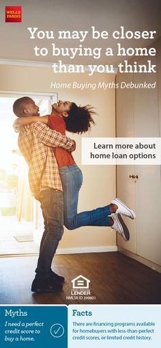 You may be closer to buying a home than you think. Get the facts on some common homebuying myths from Wells Fargo. Home Buying Tips, Buying Your First Home, Real Estate Buyers, Mortgage Tips, Learning Techniques, Moving Tips, Home Ownership, Reading Material, Credit Score