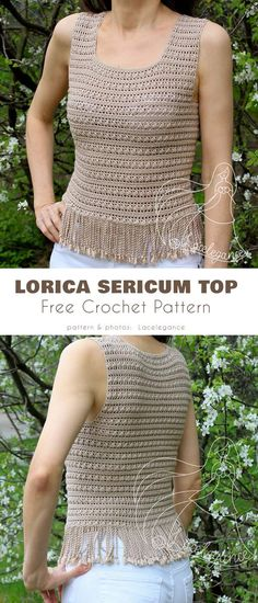 Lorica Sericum Sleeveless Top Free Crochet Pattern Airy and elegant top for summer - Crochet Crochet Tank Tops, Crochet Summer Tops, Crochet Shirt, Easy Crochet, Free Crochet, Knit Crochet, Crochet Vests, Crochet Sweaters, Top Pattern