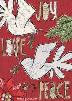 susan black design: wishing you . Christmas Love, Christmas Angels, All Things Christmas, Christmas Cards, Susan Black, Mixed Media Collage, Black Art, Creative Inspiration, Gift Tags