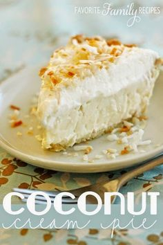 I LOVE this traditional coconut cream pie recipe. It is way better than using instant pudding or whatever people put in their coconut cream pies. and just as easy! Everyone will think you put more time into it than you actually did. Coconut Recipes, Pie Recipes, Sweet Recipes, Baking Recipes, Dessert Recipes, Family Recipes, Best Coconut Cream Pie, Pie Coconut, Coconut Milk