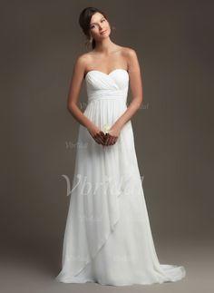 Wedding Dresses - $142.47 - Empire Strapless Sweetheart Sweep Train Chiffon Wedding Dress With Ruffle Cascading Ruffles (0025095336)