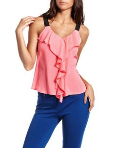 Contrast Strap Ruffle-Front Tank: Charlotte Russe