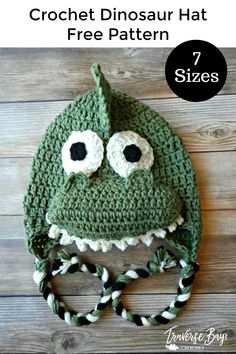 Dinosaur crochet hat free pattern Dinosaur crochet hat - braided earflap dinosaur hat written in 7 s Crochet Dinosaur Hat, Crochet Dinosaur Patterns, Crochet Animal Hats, Crochet Kids Hats, Crochet Beanie, Crochet Yarn, Free Crochet, Crochet Patterns, Crochet Ideas