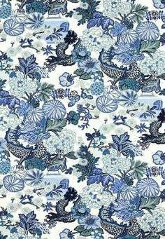 Schumacher Fabric Chiang Mai Dragon China Blue 173272 Exuberant-Prints Linen - Horizontal: 27 and Vertical: 54 - My Fabric Connection - Chiang Mai, Chinoiserie Fabric, Chinoiserie Motifs, Chinoiserie Chic, Chinoiserie Wallpaper, Fabric Wallpaper, Of Wallpaper, Wallpaper Online, Wallpaper Borders