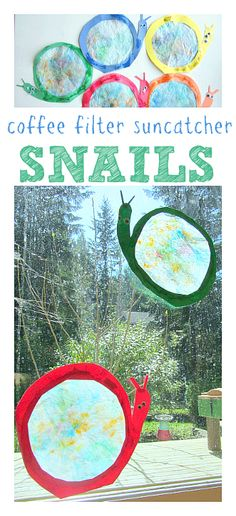 Coffee filter snail suncatcher craft for kids. Kids really like spraying water on the coffee filters & watching the colors run. Kids Crafts, Spring Crafts For Kids, Summer Crafts, Toddler Crafts, Projects For Kids, Art For Kids, Spring Activities, Activities For Kids, Coffee Filter Crafts