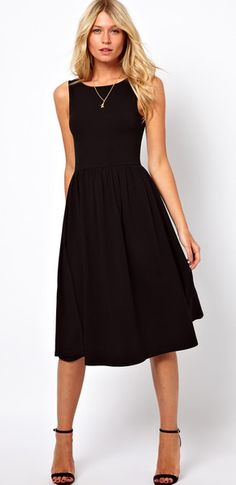 ASOS Midi Fit and Flare Dress with Scoop Back in Black