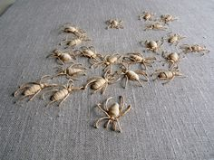 Artist Catherine Rosselle created an amazing series of creepy embroidered insects called Insectomanie. Ribbon Embroidery, Beaded Embroidery, Cross Stitch Embroidery, Embroidery Patterns, Learn Embroidery, Cross Stitches, Stitch Patterns, Sculpture Textile, Textile Art