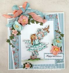 Scrapcards by Marlies Fairy Gifts, I Card, Vintage Photos, Floral Wreath, Birthdays, Wings, Happy Birthday, Bows, Colours