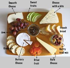 Cheese Platter Essentials - - Any display that includes bread and cheese is delicious, but when a cheese plate is done well, oh my is it good! Here are my essentials for the perfect cheese plate. Cheese: Depending on the siz…. Cheese Fruit, Cheese Platters, Simple Cheese Platter, Cheese And Cracker Tray, Cheese Table, Fruit Bread, Fruit Jam, Fruit Kabobs, Food Platters