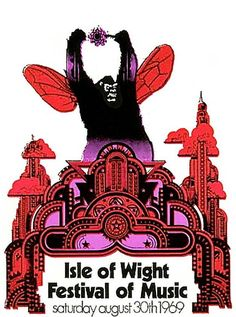 Isle of Wight Festival of Music Ticket, designed by David Fairbrother-Roe, UK, 30th August, 1969.