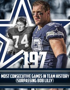 Jason Witten is playing in his 197th consecutive game, most in team history.