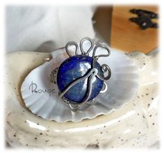 "Ring ""Evening on the Cote d'azur"", a ring with lapis lazuli, German silver ring, blue ring, ring with blue stone by RougemarketJew on Etsy"