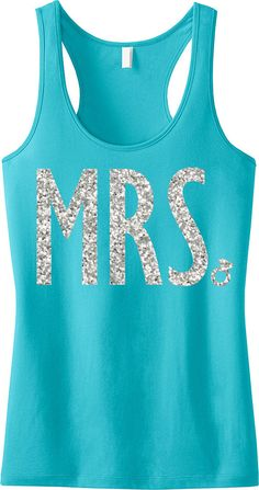 KENZIE: MRS Bridal Tank Top in Teal, Bride Tank Top, Wedding Tank, Bridal Tank Top