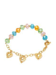 Sweet & Soft 18K Gold Plated and Multi Color Swarovski Elements Crystal Beads Heart Charm Bracelet