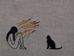 """4,215 Likes, 41 Comments - Hand embroidery on linen/skin (@adipocere) on Instagram: """"I would set myself on fire for you. Hand embroidery on natural linen. #embroidery #刺繍"""""""
