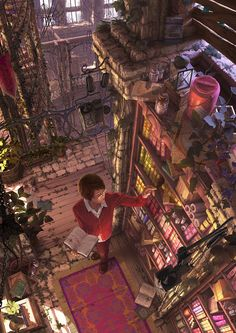 Digital Art Inspiration Library by reishin Fantasy Places, Fantasy World, Fantasy Art, Fantasy Inspiration, Story Inspiration, Anime Scenery, Fantasy Landscape, Character Art, Book Art