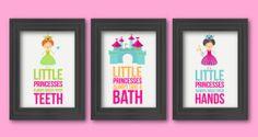 Little princesses bathroom rules, 3 8x10, Kids Decor, Word Art, Kids Wall Art, Bathroom decor, Bathroom rules art