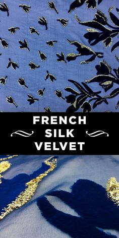 French Silk and Lurex Burnout Velvet in Deep Blue and Gold with Floral Border Pattern