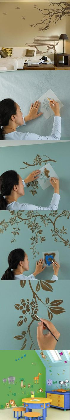 Pintura decorativa na parede vai trazer nova vitalidade para o seu quarto apenas através de 4 passos simples.